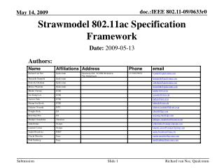Strawmodel 802.11ac Specification Framework