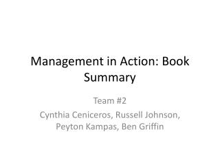 Management in Action: Book Summary
