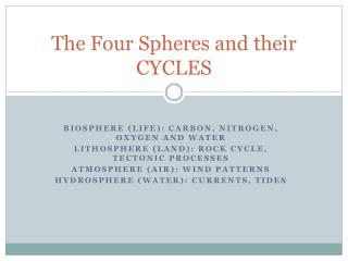 The Four Spheres and their CYCLES