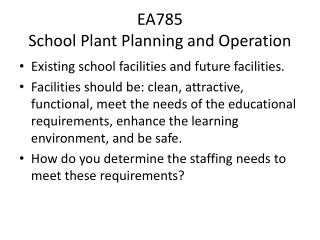 EA785 School Plant Planning and Operation
