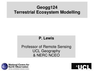 Geogg124 Terrestrial Ecosystem  Modelling