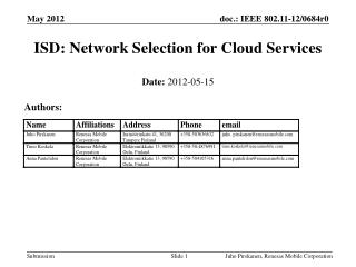 ISD: Network Selection for Cloud Services