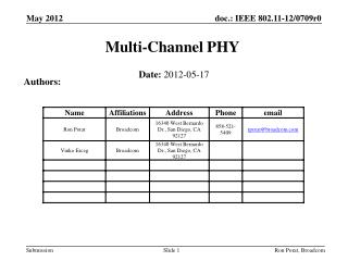 Multi-Channel PHY