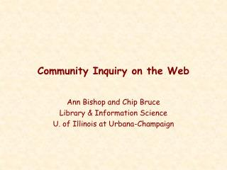 Community Inquiry on the Web