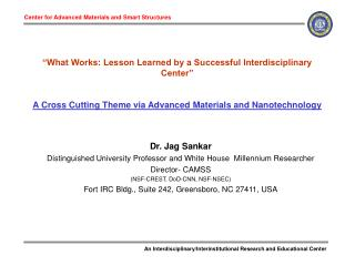 """What Works: Lesson Learned by a Successful Interdisciplinary Center"" A Cross Cutting Theme via Advanced Materials a"