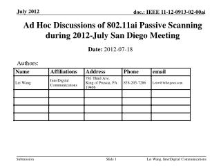 Ad Hoc Discussions of 802.11ai Passive Scanning during 2012-July San Diego Meeting