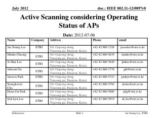 Active Scanning considering Operating Status of APs