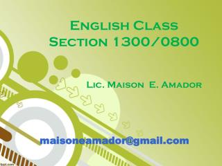 English Class   Section 1300/0800