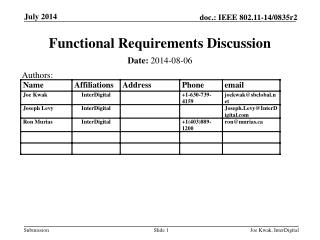 Functional Requirements Discussion
