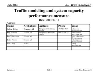 Traffic modeling and system capacity performance measure