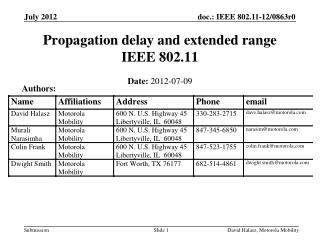 Propagation delay and extended range IEEE 802.11