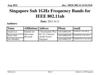 Singapore Sub 1GHz Frequency Bands for IEEE 802.11ah