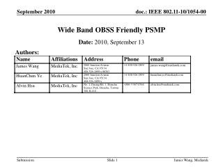 Wide Band OBSS Friendly PSMP
