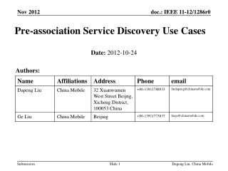 Pre-association Service Discovery Use Cases
