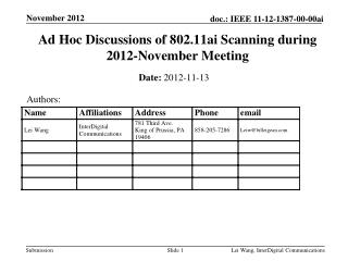 Ad Hoc Discussions of 802.11ai  Scanning  during  2012-November  Meeting