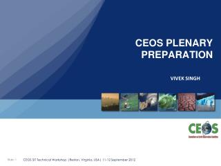 CEOS PLENARY PREPARATION