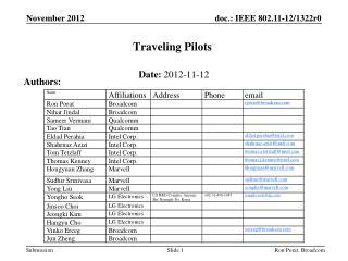 Traveling Pilots