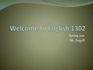 Welcome to English 1302