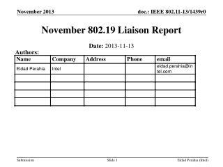 November 802.19 Liaison Report