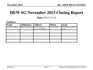 HEW SG November 2013 Closing Report