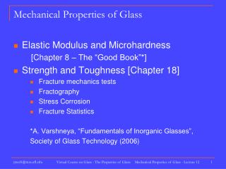 Mechanical Properties of Glass