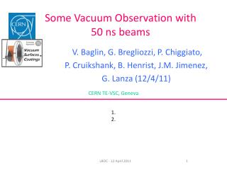 Some Vacuum Observation with 50 ns beams