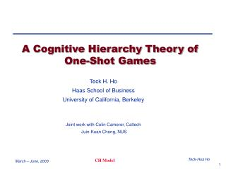 A Cognitive Hierarchy Theory of One-Shot Games