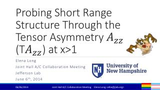 Probing Short Range Structure Through the Tensor Asymmetry   (T ) at x>1