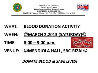 Republic of the Philippines Department of Health National Voluntary Blood Services Program