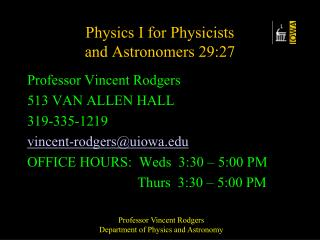Physics I for Physicists  and Astronomers 29:27