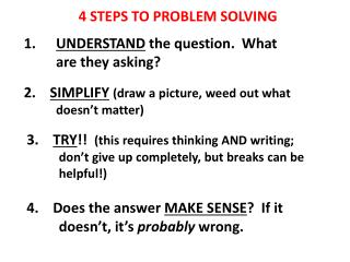4 STEPS TO PROBLEM SOLVING