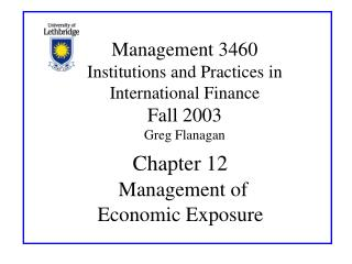 Chapter 12 Management of  Economic Exposure