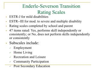Enderle-Severson Transition Rating Scales