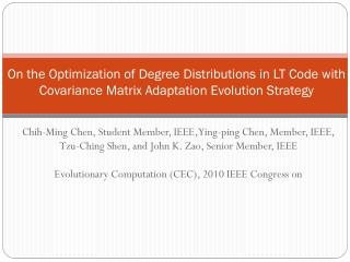 Chih -Ming Chen, Student Member, IEEE, Ying-ping Chen, Member, IEEE,