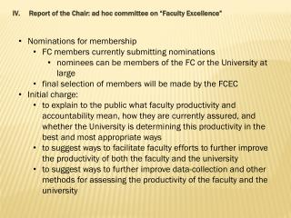 "Report of the Chair: ad hoc committee on ""Faculty Excellence"""