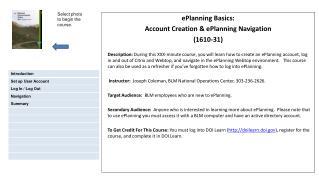 ePlanning Basics: Account Creation & ePlanning Navigation (1610-31)