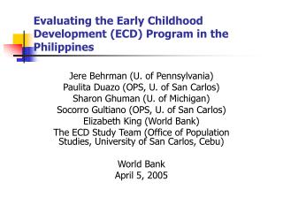 Evaluating the Early Childhood Development (ECD) Program in the Philippines
