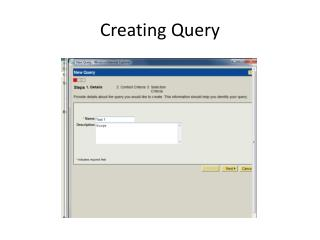 Creating Query