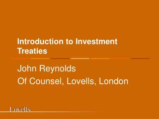 Introduction to Investment Treaties