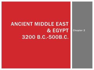 Ancient Middle East & Egypt  3200 B.C.-500B.C.