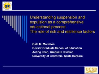 Understanding suspension and expulsion as a comprehensive educational process:  The role of risk and resilience factors