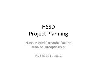 HSSD Project Planning