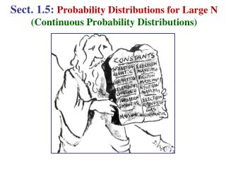 Sect. 1.5:  Probability Distributions for Large N (Continuous Probability Distributions)