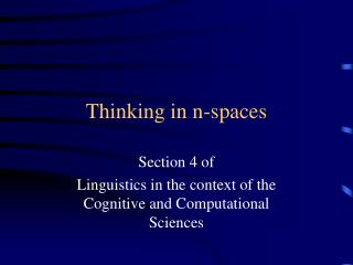 Thinking in n-spaces