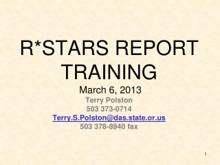 R*STARS REPORT TRAINING