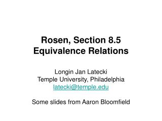 Rosen, Section 8.5 Equivalence Relations
