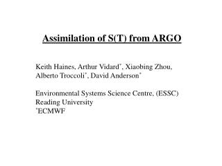 Assimilation of S(T) from ARGO