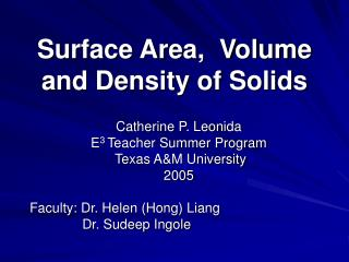 Surface Area,  Volume and Density of Solids
