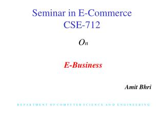 Seminar in E-Commerce CSE-712