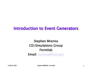 Introduction to Event Generators